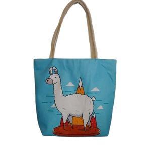 NWOT Woven Llama Beach Bag, Zipper & Cord Handle